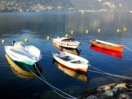 Lake Iseo, Italy. Traditional boats