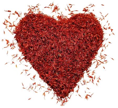 Red saffron, heart Archivio Fotografico