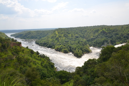 Panorama of the Nile downstream of the Murchison Falls Stock fotó - 93142768