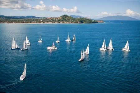 Regatta in indian ocean, sailboat and catamaran