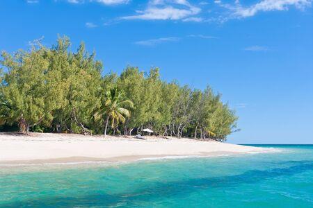 Paradise island. Fine white sand, casuarina, palm tree and turquoise water photo