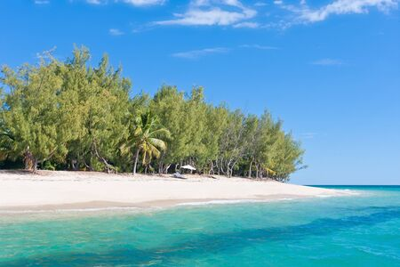 Paradise island. Fine white sand, casuarina, palm tree and turquoise water photo