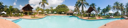 Panorama swimming pool of a luxurious tropical hotel