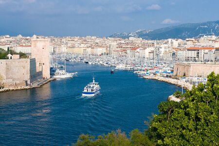 marseille: Panorama van de oude haven van Marseille, Frankrijk