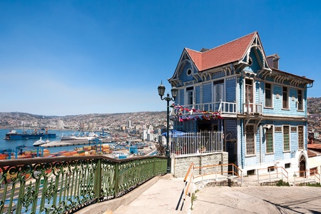 Colorful house in Valparaiso, Chile with view on yhe port. UNESCO World Heritage. photo