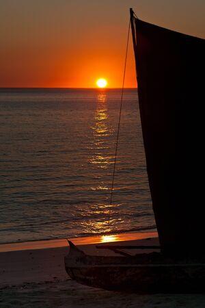 dugout: Vezo dugout at sunset near Tsifota, southwestern Madagascar Stock Photo