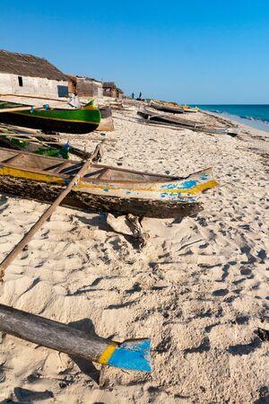 dugout: The fishing village of Ambatomilo, Madagascar Stock Photo