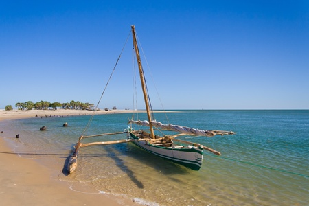 outrigger: Sakalava outrigger canoe from the Antsanitia fishing village, western Madagascar.