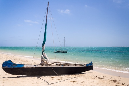 Fishing dugouts to Anakao, southern Madagascar photo