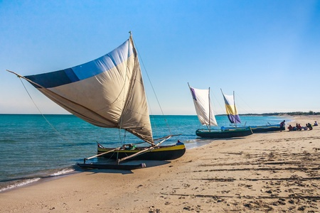 dugout: Fishing dugouts to Anakao, southern Madagascar Stock Photo