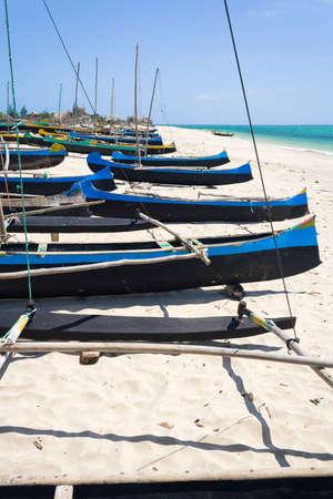 Fishing dugouts to Anakao, southern Madagascar Stock Photo - 12709863