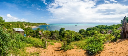 northern african: Fishing village with view on the emerald sea near Diego Suarez, north of Madagascar Stock Photo