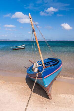 diego: Traditional fishing boat in the Antsiranana bay (Diego Suarez), north of Madagascar Stock Photo
