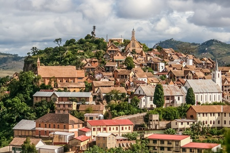 The old town of Fianarantsoa, Madagascar highlands Reklamní fotografie