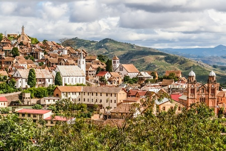 The old town of Fianarantsoa, Madagascar highlands Фото со стока