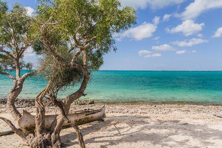 dugout: Seascape on the lagoon of Andavadoaka, southwestern Madagascar Stock Photo