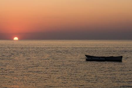 dugout: Sunset on the beach of Ifaty, southwestern Madagascar