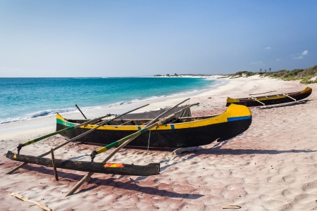 fishing village: Fishing canoes on the beach of Itampolo, southern Madagascar Stock Photo