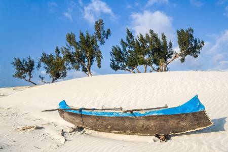 dugout: Dunes and wild beach in southern Madagascar