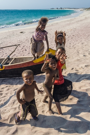 the deep south: ITAMPOLO, MADAGASCAR - OCT 19: Malagasy children unidentified of ethnic Antandroy on the beach of Itampolo in the deep south of Madagascar on october 19, 2006. Antandroy are a nomadic ethnic group of Androy region, and live mainly from fishing and zebu ca