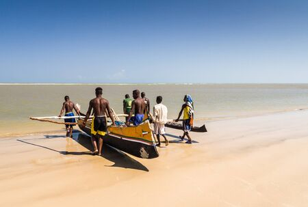 dugout: Malagasy people of ethnicity Vezo going fishing on oct 29, 2007 to Morondava, western Madagascar Editorial