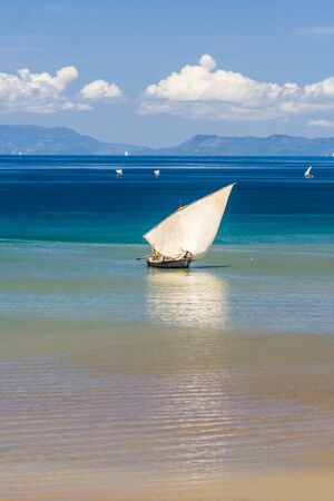 dugout: Traditional sailboat near Nosy Be island in northern Madagascar