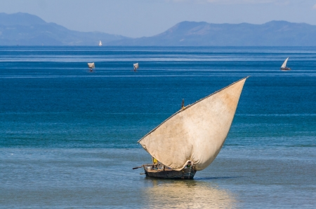 Traditional sailboat near Nosy Be island in northern Madagascar