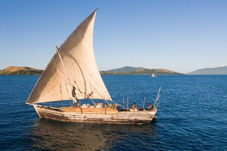 dugout: Traditional sailboat near Nosy Be island in northern Madagascar, on june 26, 2008