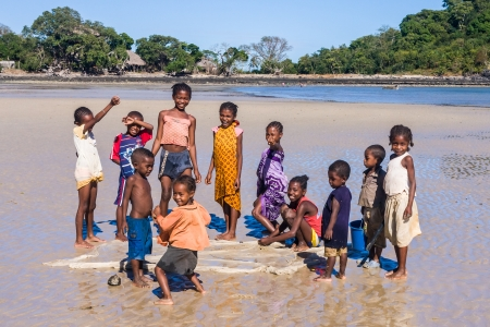 indigenous: Malagasy children on the beach of Nosy Be island, north of Madagascar on July 1, 2008 Editorial