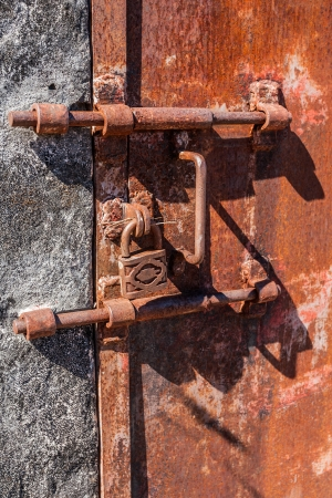 ancient prison: Old rusty lock of penal colony