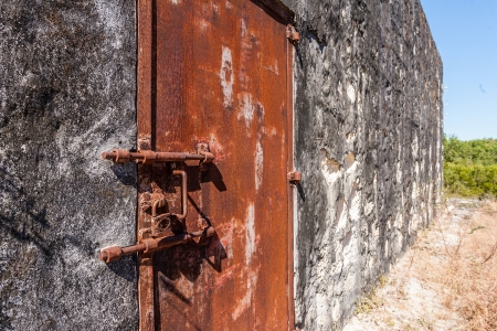 inmate: Old rusty lock of penal colony