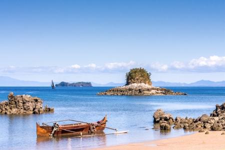 dugout: Seascape near Nosy Be island, northern Madagascar Stock Photo