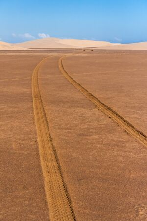 anosy: Tire tracks through the desert sand dunes in southern Madagascar