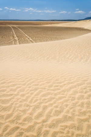 fort dauphin: Tire tracks through the desert sand dunes in southern Madagascar