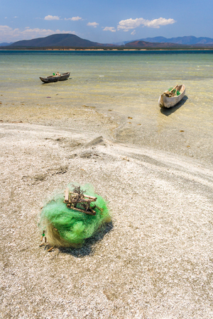 anosy: Fishing boats and net in southern Madagascar