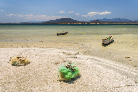 fort dauphin: Fishing boats and net in southern Madagascar