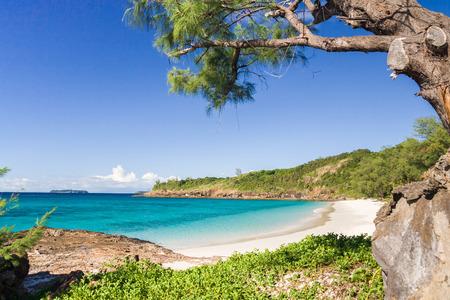 La plage de l'île de Tsarabanjina près de Nosy Be, au nord de Madagascar Banque d'images