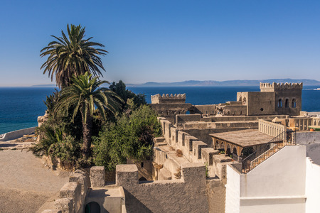 The old medina of Tangier, Morocco, facing the Strait of Gibraltar and the Spanish coast.