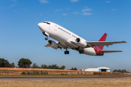 airstrip: Aircraft taking off on the airstrip