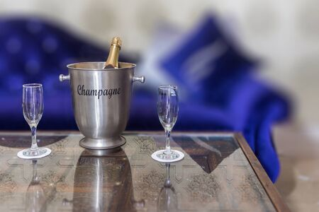 silver flute: Champagne bucket in a Moroccan style lounge