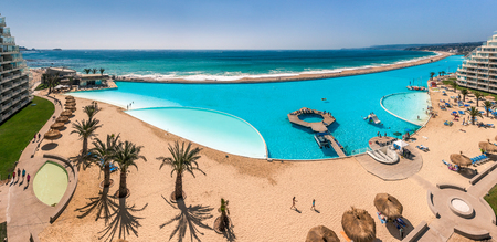 hectares: ALGARROBO, CHILE - JAN 15: San Alfonso del Mar, Guinness World Record of the biggest swimming pool of the world with 8 hectares and 1 km in length and 250 million liters of sea water. Algarrobo, Chile, jan 15, 2012. Editorial