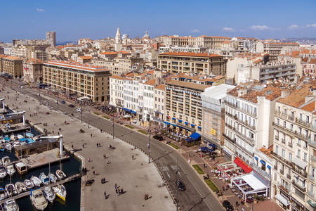 old port: Aerial view on the quay of the old port, the town hall and the city of Marseille, France on march 15, 2016.
