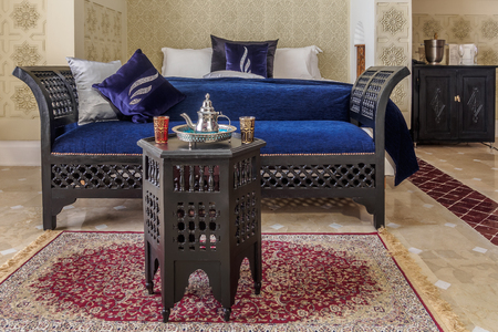 suite: Luxury suite bedroom and couch in moroccan style
