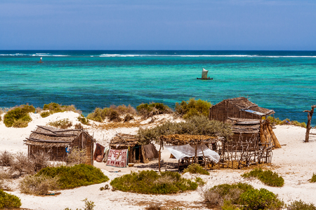 Vezo fishing village in south of Madagascar Banque d'images