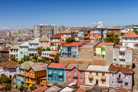 colonial church: Colored and steep neighborhood of Valparaiso, Chile