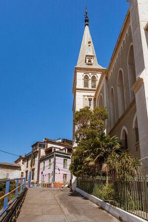 church steeple: Church of Santa Cruz, cerro Conception, Chile.