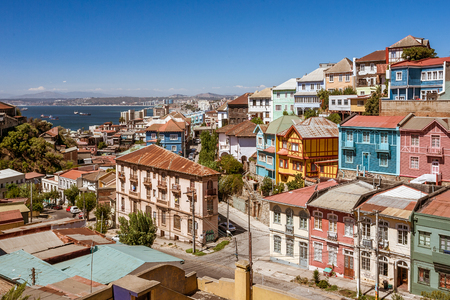 Colored and steep neighborhood of Valparaiso, Chile