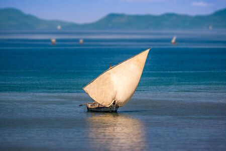 Traditional sailboat off Nosy Be island in northern Madagascar. Stock Photo