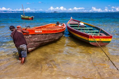 Antsiranana, Madagascar, November 19, 2016: Departure for fishing in Ramena beach of Antsiranana (Diego Suarez), north of Madagascar