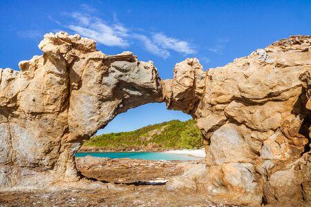 The rocks of the north beach of Tsarabanjina island, Madaascar Stock Photo